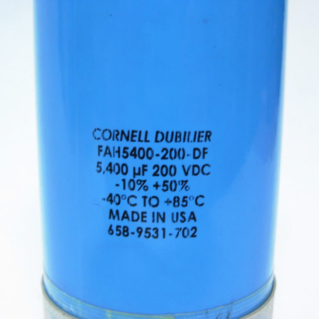 Cornell Dubilier Capacitor 5400 uf 200 VDC FAH5400 200 DF 222546141485 3