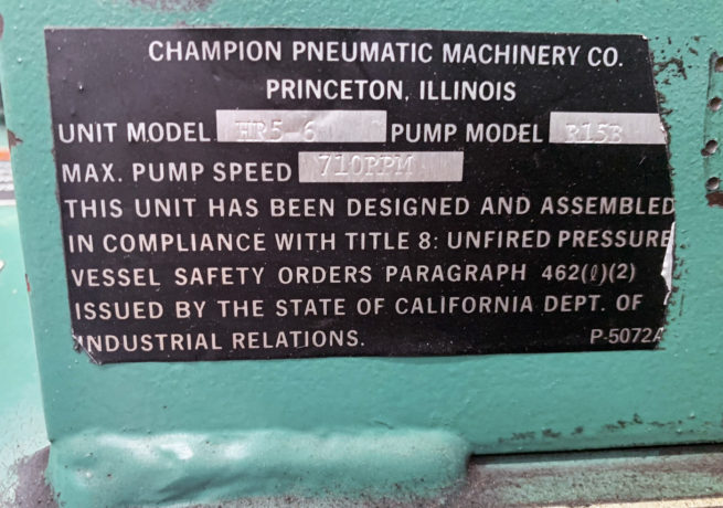 Champion Pnuematic Machinery Air Compressor 3