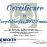 Becker Pumps Certificate of Maintenance Training