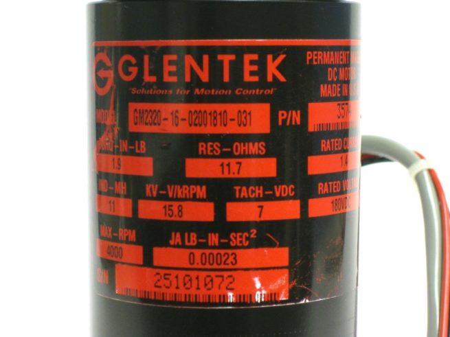 Glentek GM2320 16 02001810 031 DC Servo Motor 180VDC 4000RPM 14A 322134616610 3