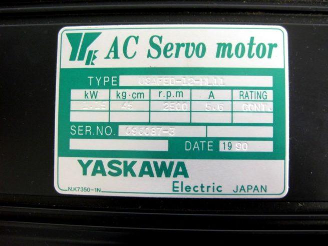Yaskawa USAFED 12 HL11 AC Servo Motor 115 kW 56A 322103273041 5