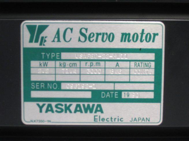 Yaskawa USAFED 22 HL11 AC Servo Motor 22kW 86A 322104495146 4