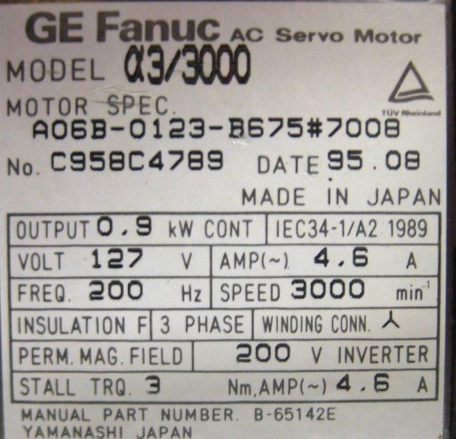 GE Fanuc AC Servo Motor with Brake a33000 222586117387 4